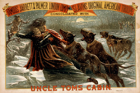 Bloodhounds chase Eliza across the ice in this poster for a stage production of Uncle Tom's Cabin, 1881.